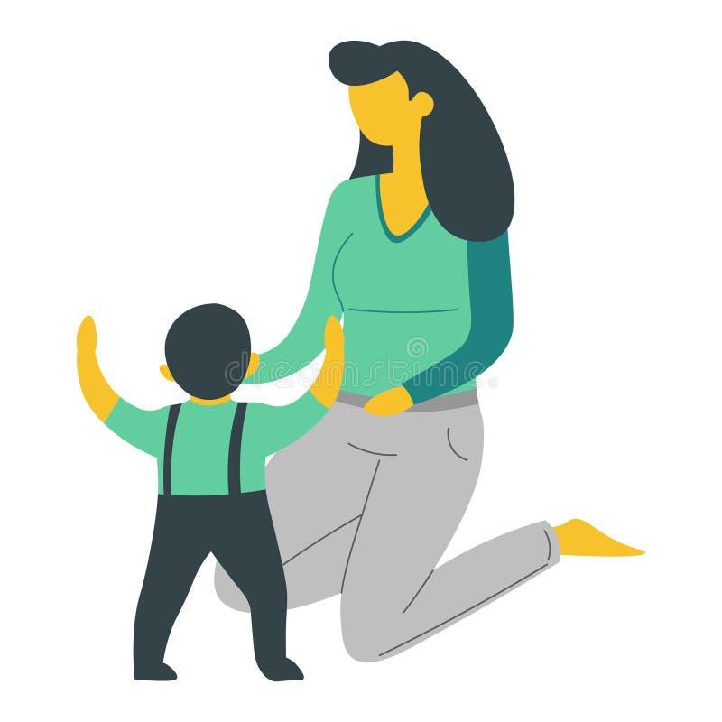 Modern och sonen isolerade teckenkvinnan och behandla som ett barn uppfostranbarnet stock illustrationer