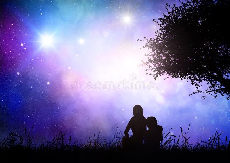 Modern och sonen satt i gräs mot en utrymmehimmel royaltyfri illustrationer
