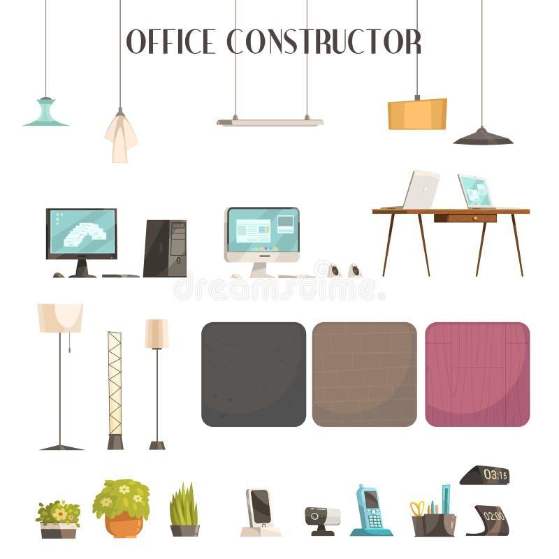 Modern Office Accessories Cartoon Icons Set vector illustration