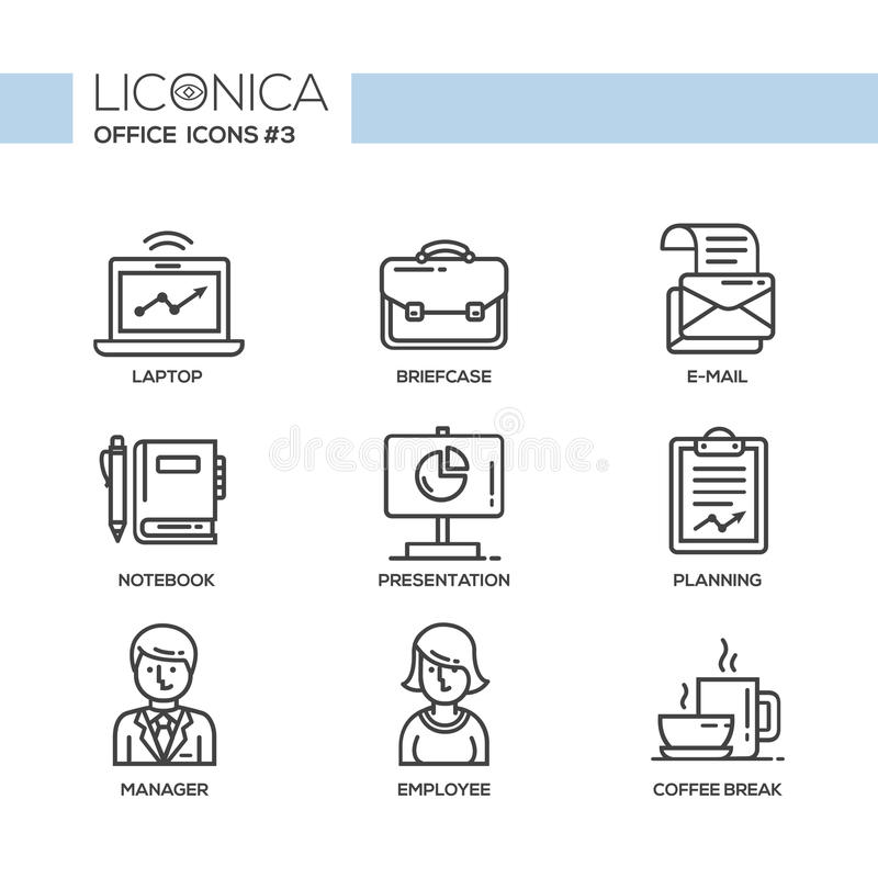 Free Modern Office And Business Line Flat Design Icons, Pictograms Set Royalty Free Stock Photography - 65176467