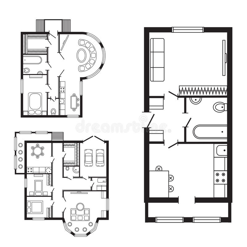 Modern office architectural plan interior furniture and construction design drawing project royalty free illustration