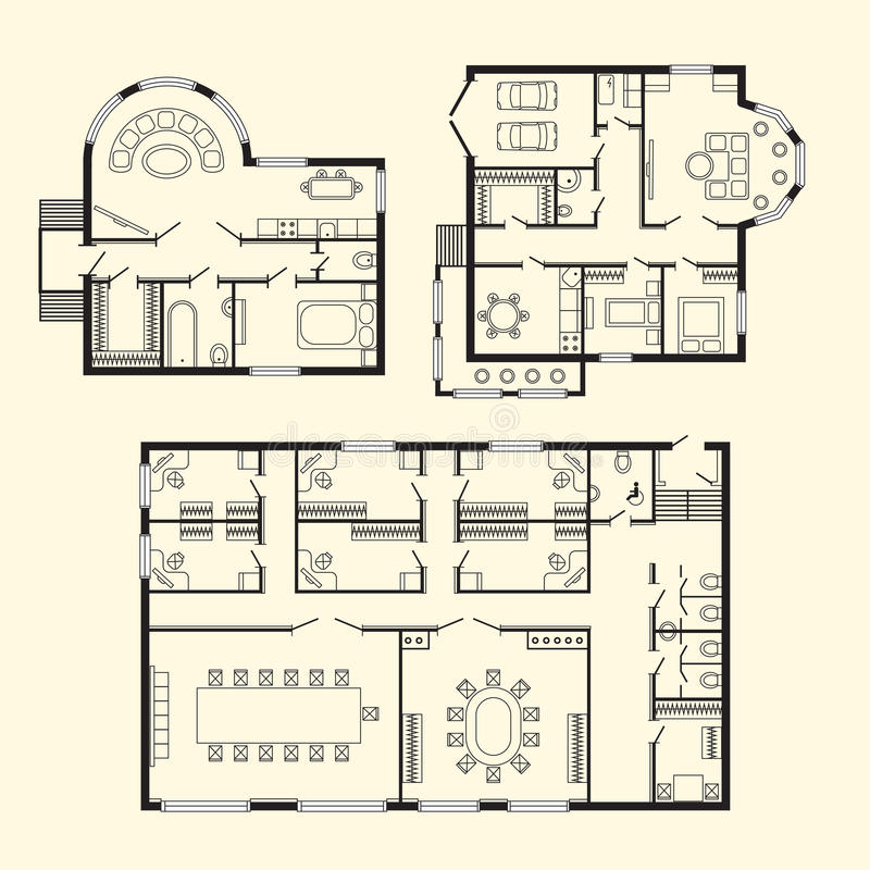Modern office architectural plan interior furniture and construction design drawing project vector illustration