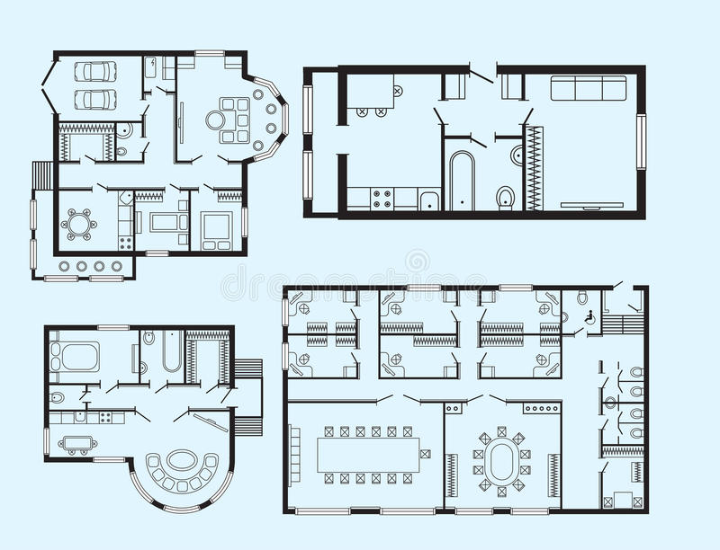 Elegant Modern Office Architectural Plan Interior Furniture And Construction Design  Drawing Project Architect Engineering Sketch House Vector Illustration.
