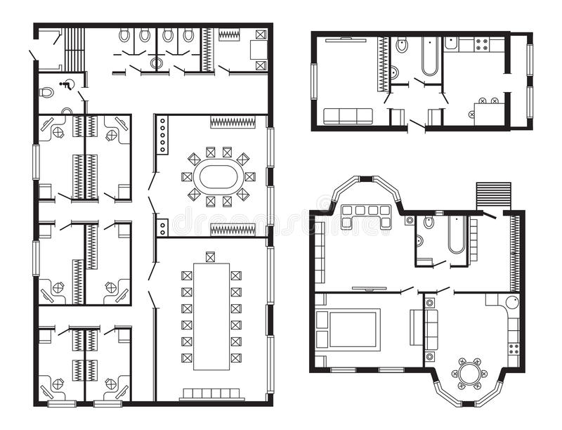 Modern Office Architectural Plan Interior Furniture And Construction Design  Drawing Project Architect Engineering Sketch House Vector Illustration.