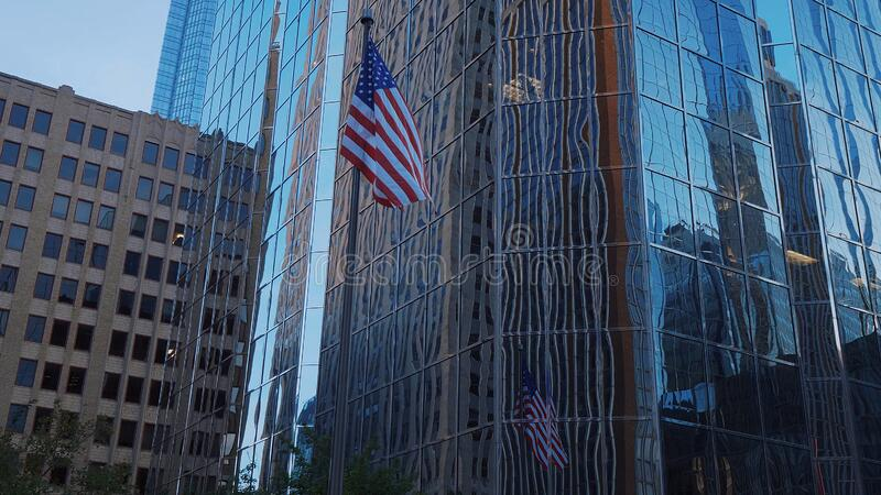 Modern Office buidling and Falg of the United States at Oklahoma City - OKLAHOMA CITY-OKLAHOMA, OCTOBER 21,2017. Modern Office buidling and Falg of the United stock photo