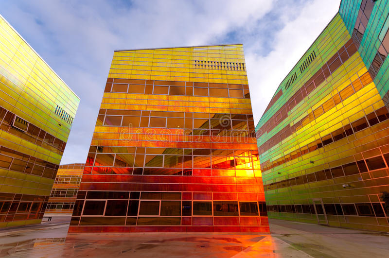 Modern office building in Almere. Colorful building of the UWV, the governmental employee insurance company in the Netherlands stock images