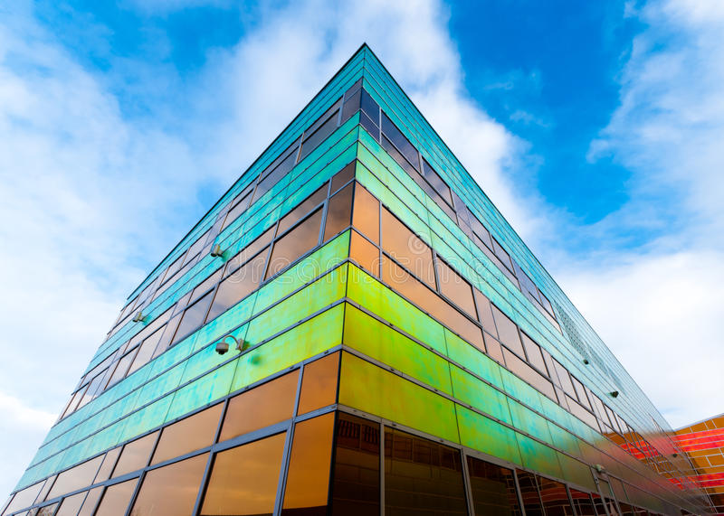 Modern office building in Almere. Colorful building of the UWV, the governmental employee insurance company in the Netherlands stock photography