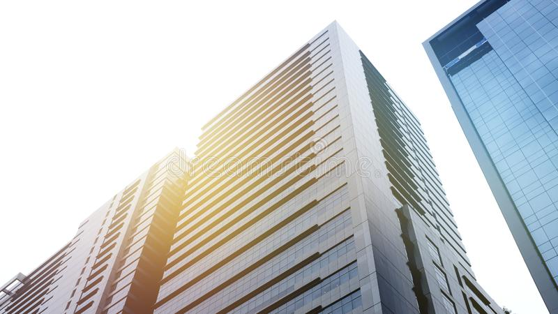 Modern office building.building with copy space.windows office building for background stock images