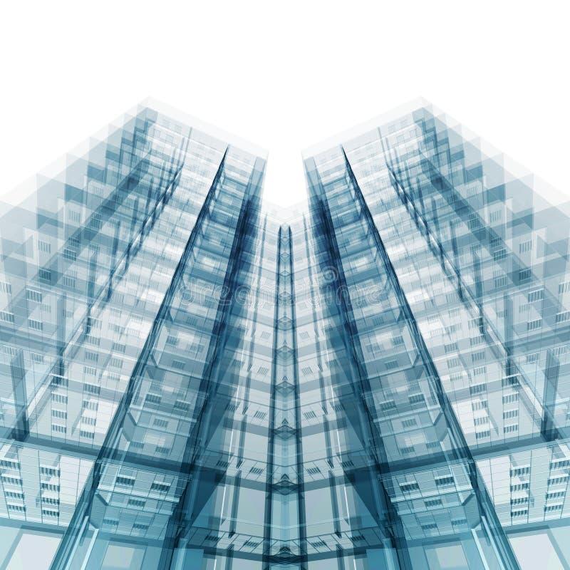 Modern office building. 3d rendering stock illustration