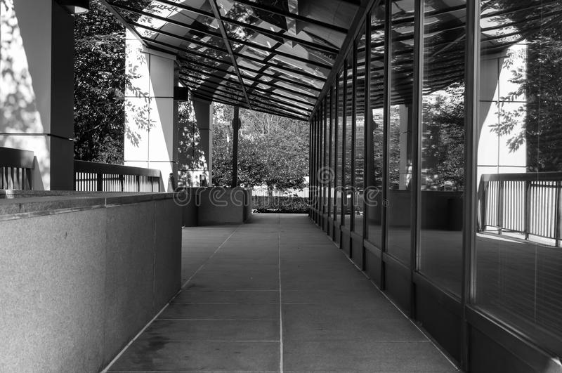 Modern office building exterior in black and white royalty free stock images