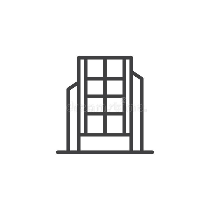 Modern office building line icon royalty free illustration
