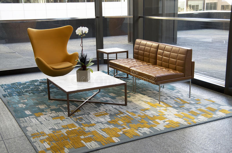 Download Modern Office Building Lobby Furniture Stock Image   Image Of  Interiors, Brown: 51352357