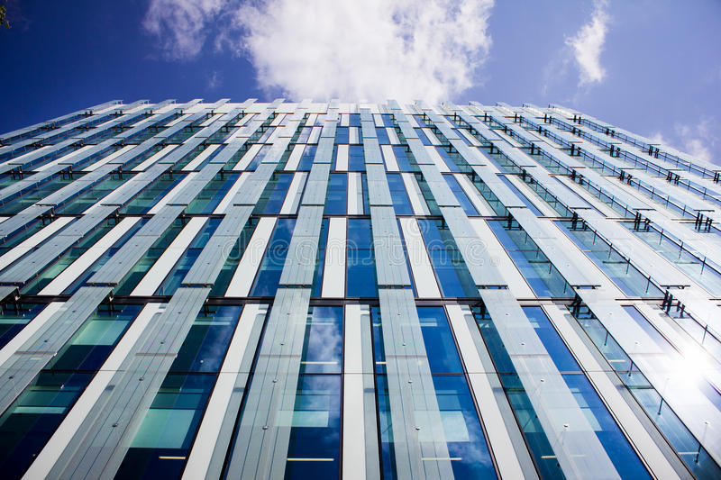 Tall Modern Office Building, Manchester UK. Prestige Location. Modern Office Building in Spinningfields business district. Manchester, UK. Metal, Glass and royalty free stock images