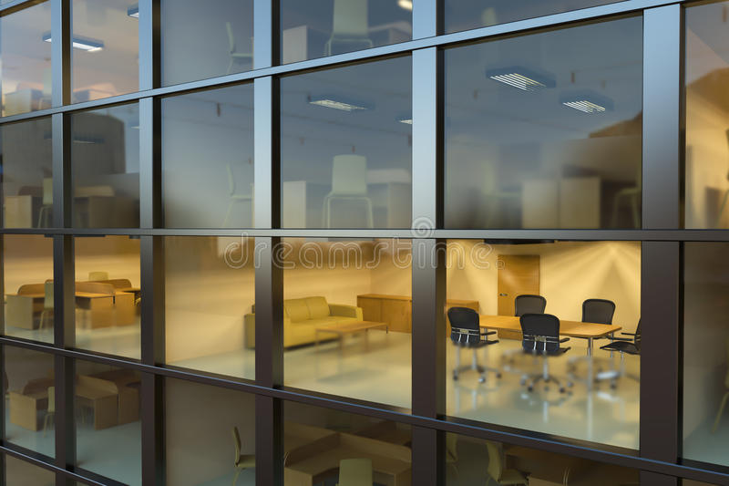 Modern office building at night stock image
