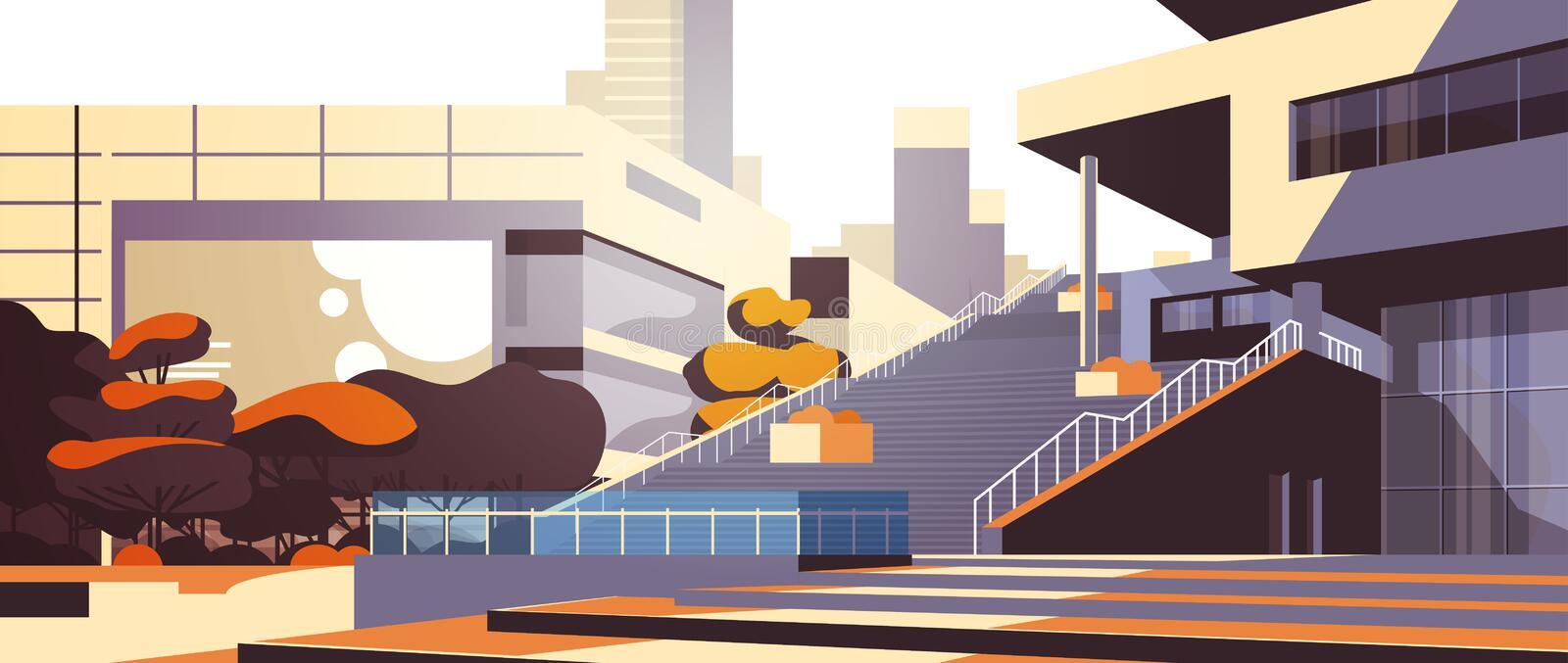 Modern office building stairs exterior view over skyscraper buildings cityscape background horizontal flat. Vector illustration stock illustration