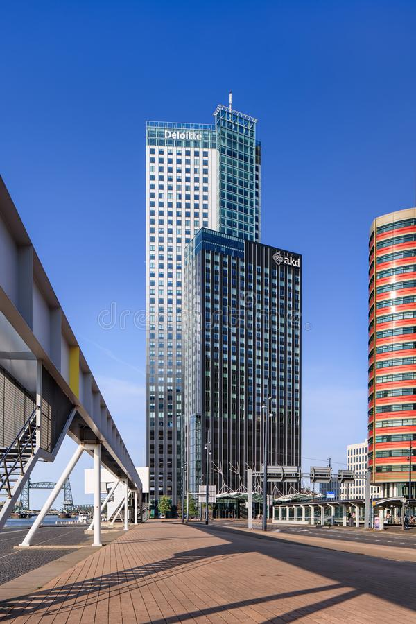Modern office buildings against a blue sky at Kop van Zuid, Rotterdam, Netherlands royalty free stock image