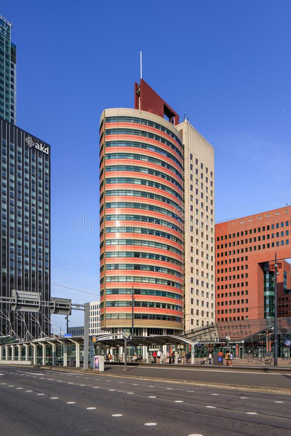 Modern office buildings against a blue sky at Kop van Zuid, Rotterdam, Netherlands stock photography