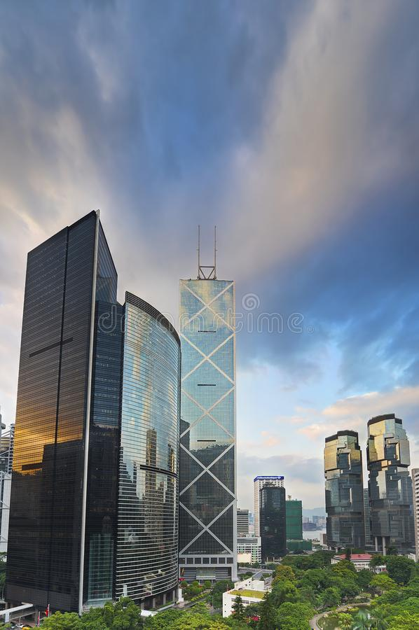 High rise modern office buildings in Hong Kong city royalty free stock photography