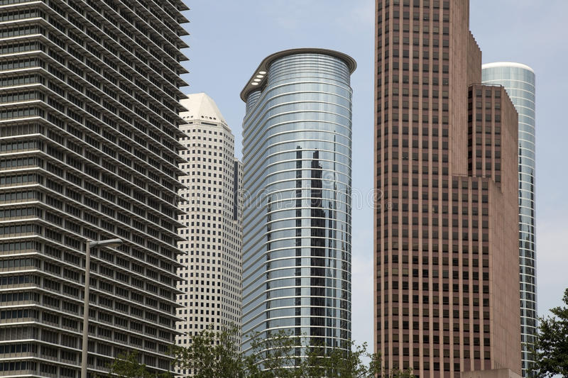 Modern office buildings in Houston stock images