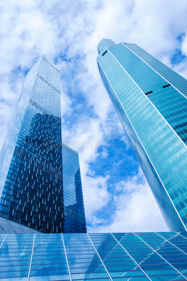 Modern office buildings. Low angle shot of modern glass skyscrapers against the sky, Moscow city, Russia. stock image