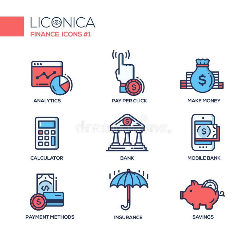 Modern office and business line flat design icons, pictograms set stock illustration