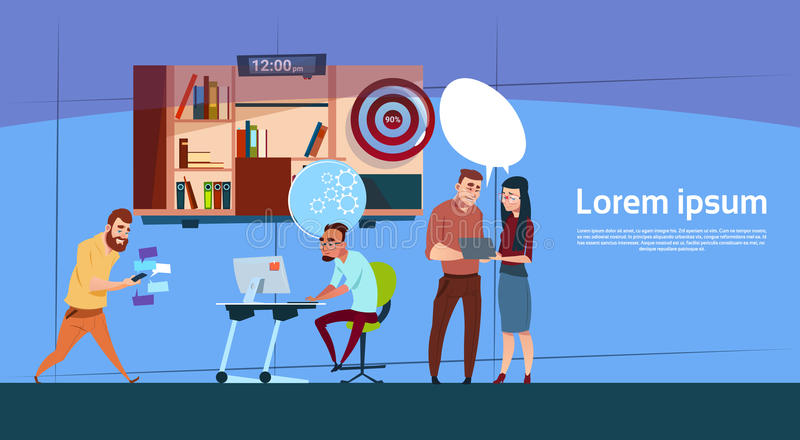 Modern Office Business People Group Working, Company Team Banner With Copy Space. Flat Vector Illustration royalty free illustration