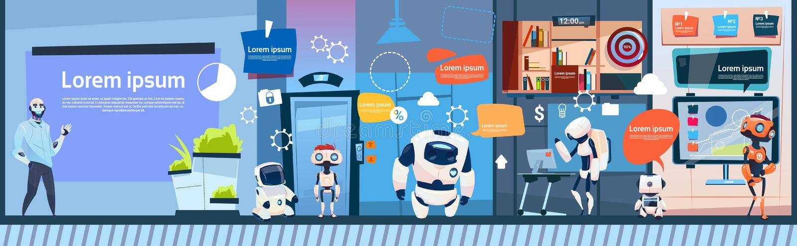 Modern Office Business Robots Group Working, Company Cyborg Team Banner With Copy Space. Flat Vector Illustration vector illustration
