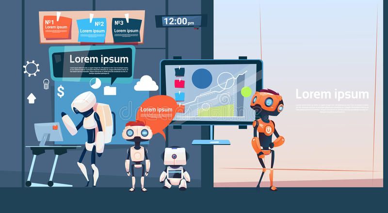 Modern Office Business Robots Group Working, Company Cyborg Team Banner With Copy Space. Flat Vector Illustration royalty free illustration