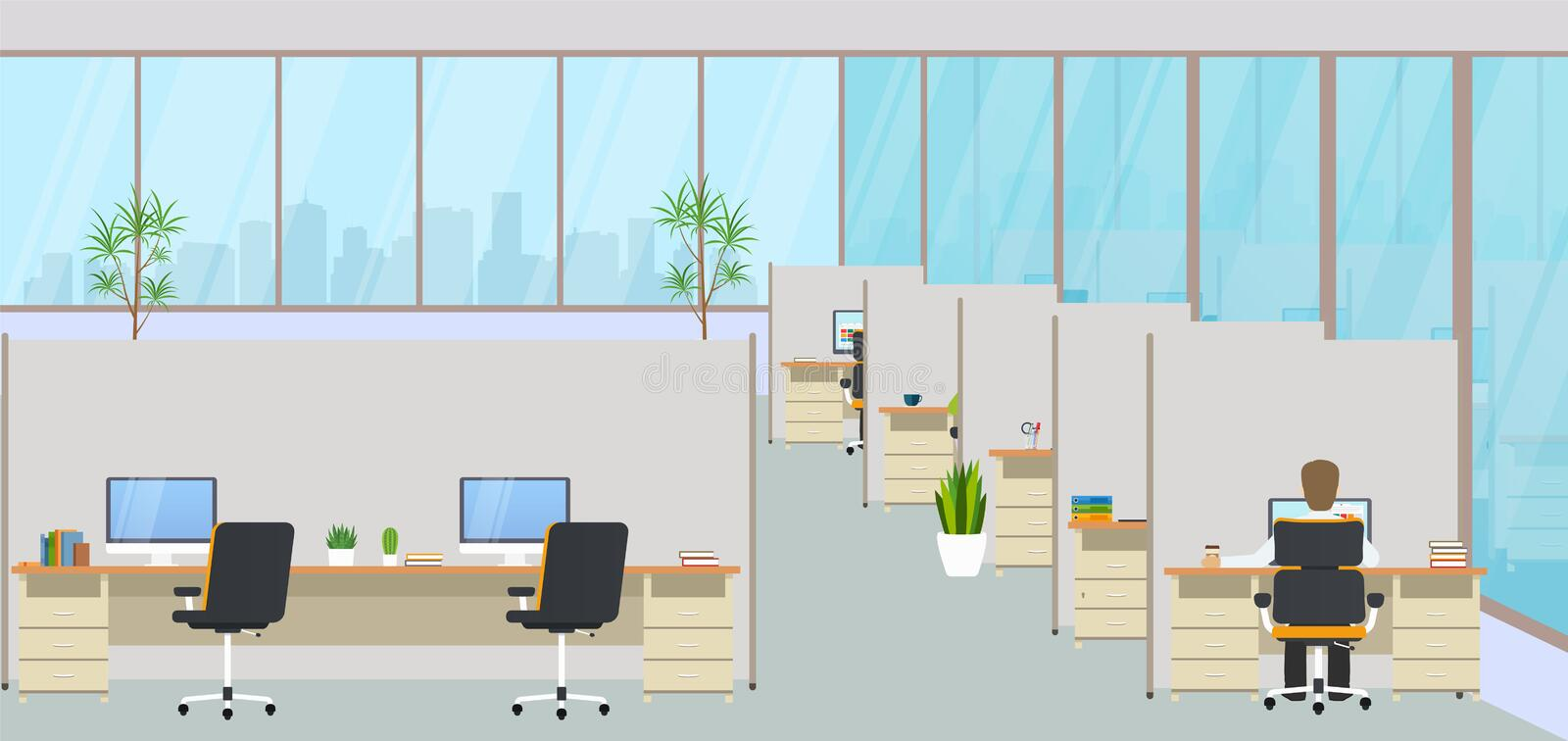 Modern office center with workplaces and employees. Empty workspace for co-working. stock illustration