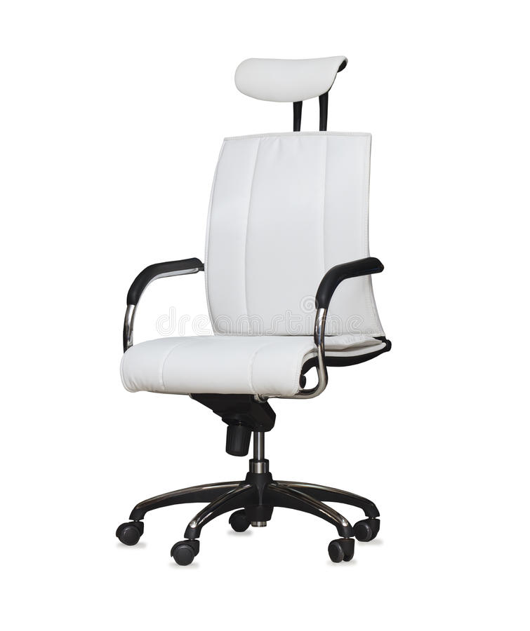 Free Modern Office Chair From White Leather. Isolated Royalty Free Stock Images - 42022049