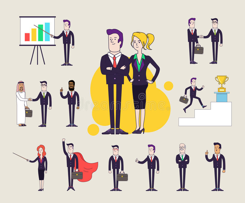 Modern office characters set. Different poses and situations. Collection of illustrations. Linear flat design. vector illustration