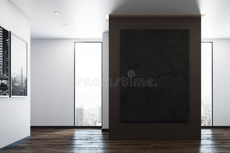 Modern office with empty blackboard banner stock illustration