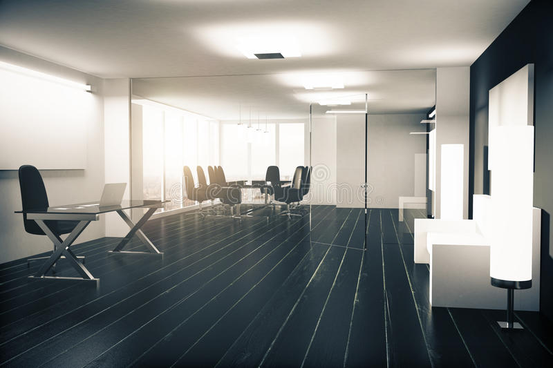 Modern office with furniture, vitreous walls and black wooden fl royalty free illustration