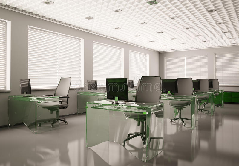 Modern office with glass tables 3d stock illustration