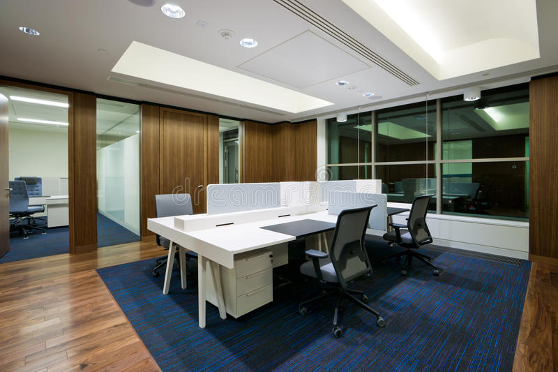 Modern office interior. In new building stock photos