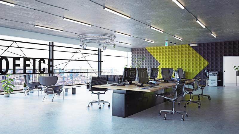 Modern office interior royalty free illustration