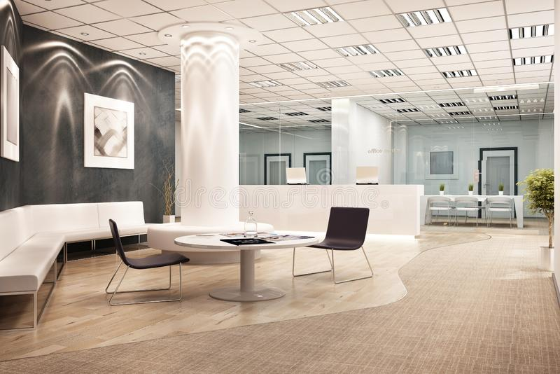 Modern office interior design with reception royalty free stock photo