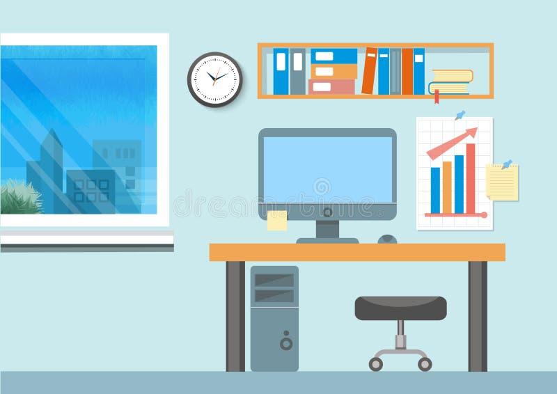 Modern office interior with designer desktop vector illustration