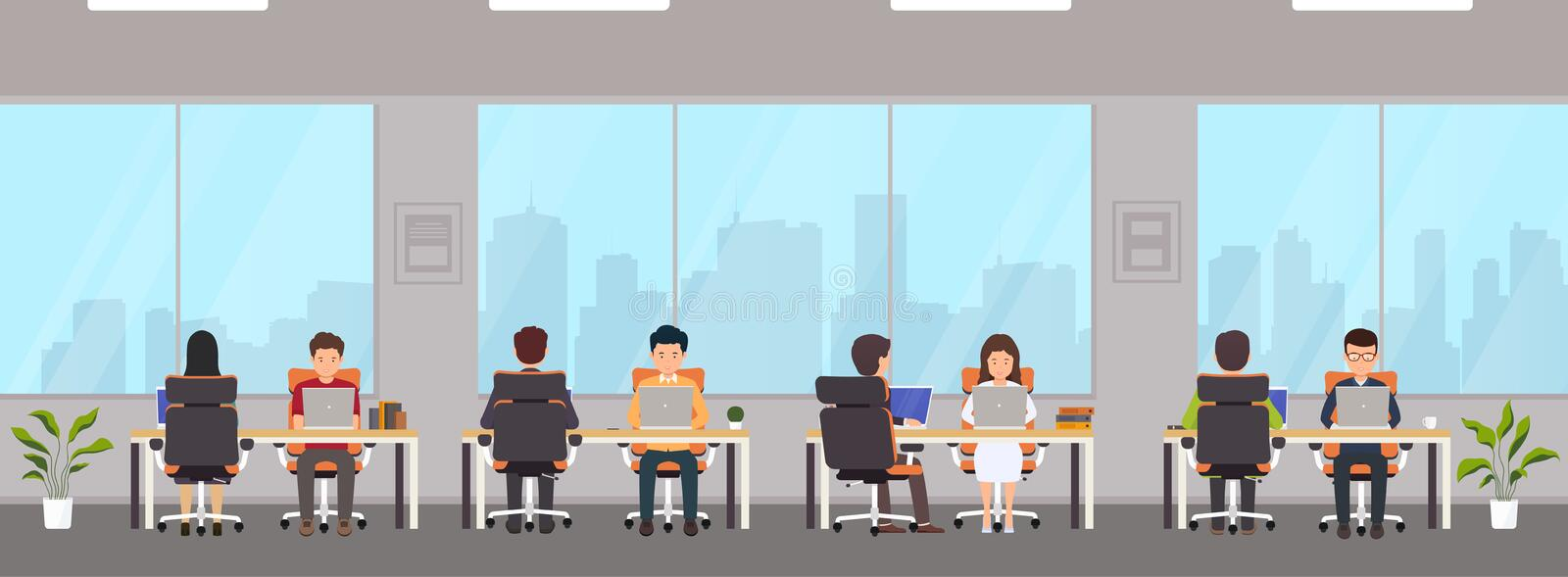 Modern office interior with employees. Creative office workspace with big window,  desktop, laptop royalty free illustration