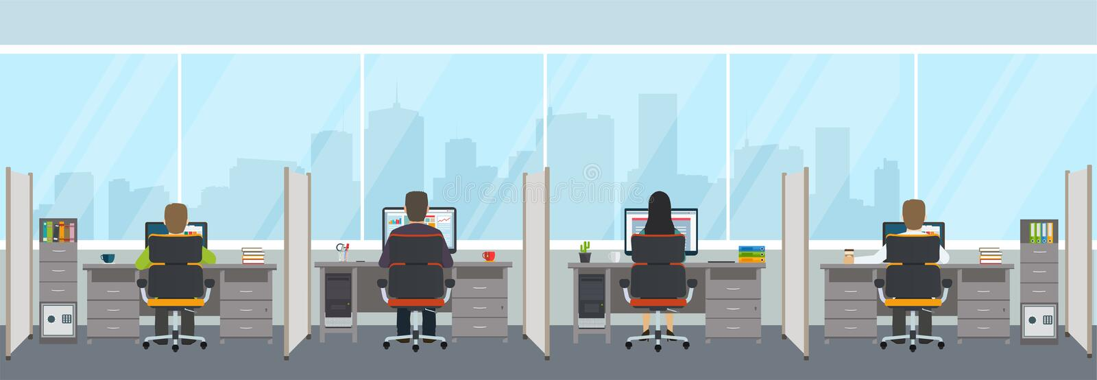 Modern office interior with employees. Office space with panoramic windows royalty free illustration