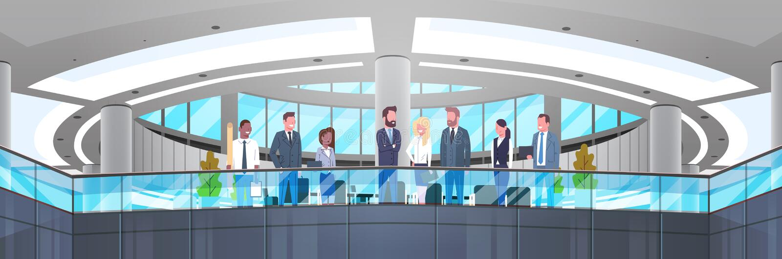 Modern Office Interior With Group Of Business People, Professionals Businessmen And Businesswomen Workplace Concept. Horizontal Banner Flat Vector Illustration royalty free illustration