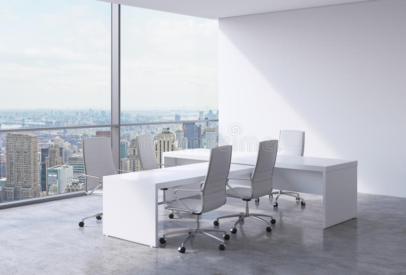 Modern office interior with huge windows and New York panoramic view. A concept of CEO workplace. royalty free illustration