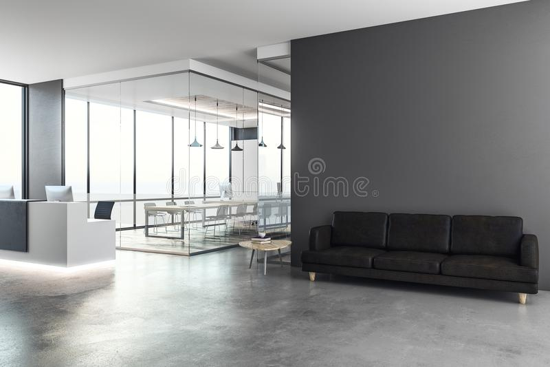 Modern reception with copy space. Modern office interior with reception desk and copy space on wall. Mock up, 3D Rendering royalty free illustration