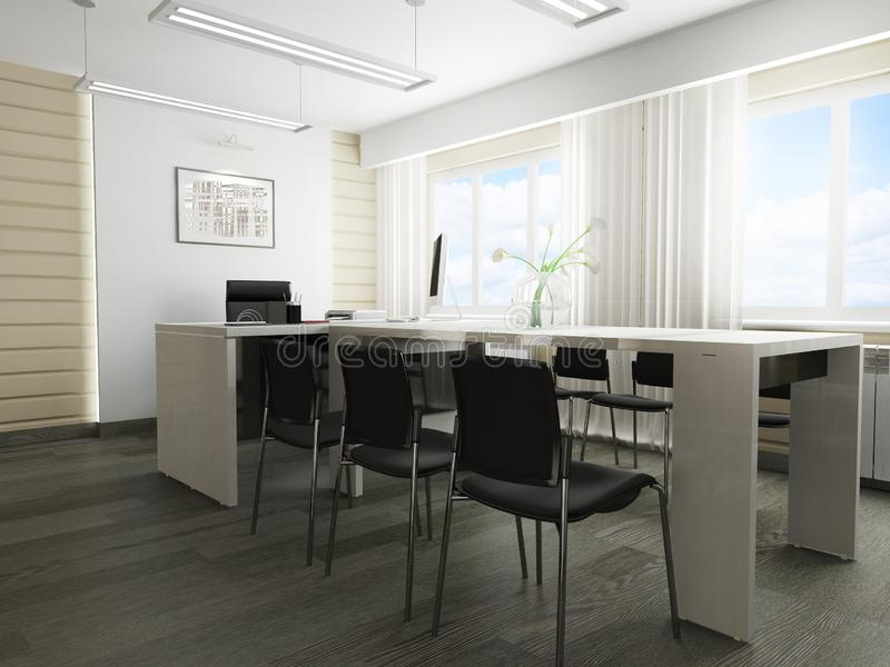Modern office interior. Office interior in modern style 3d rendering royalty free illustration