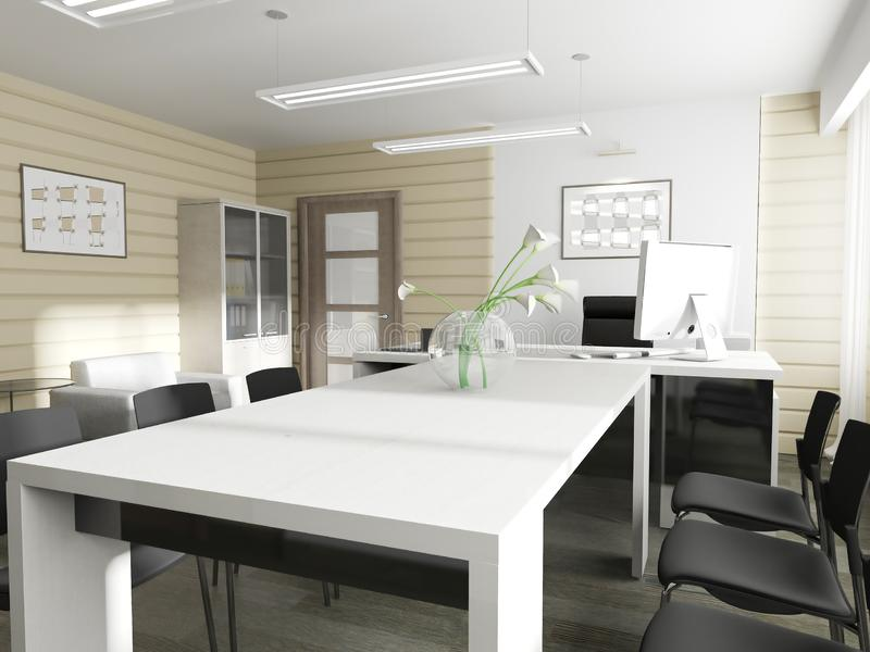 Modern office interior. Office interior in modern style 3d rendering stock illustration