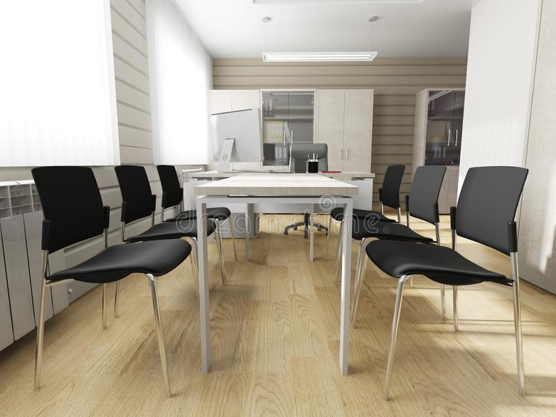Modern office interior. Office interior in modern style 3d rendering vector illustration