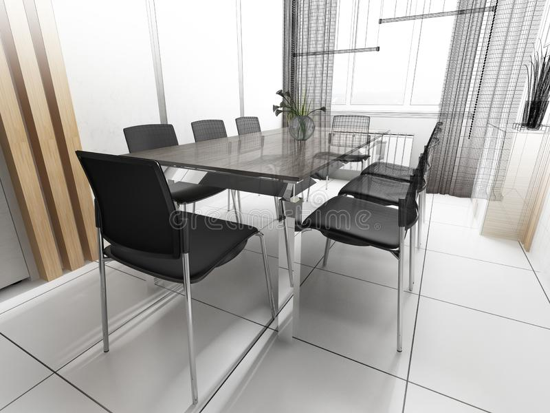 Modern office interior. Office interior in modern style. 3d rendering image vector illustration
