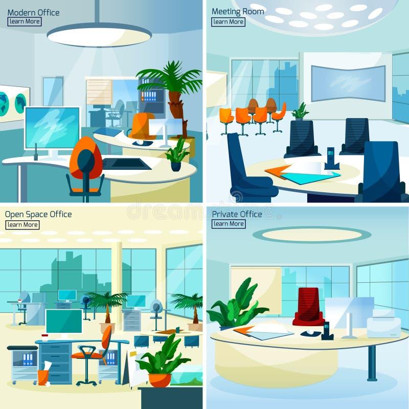 Modern Office Interiors 2x2 Design Concept royalty free illustration