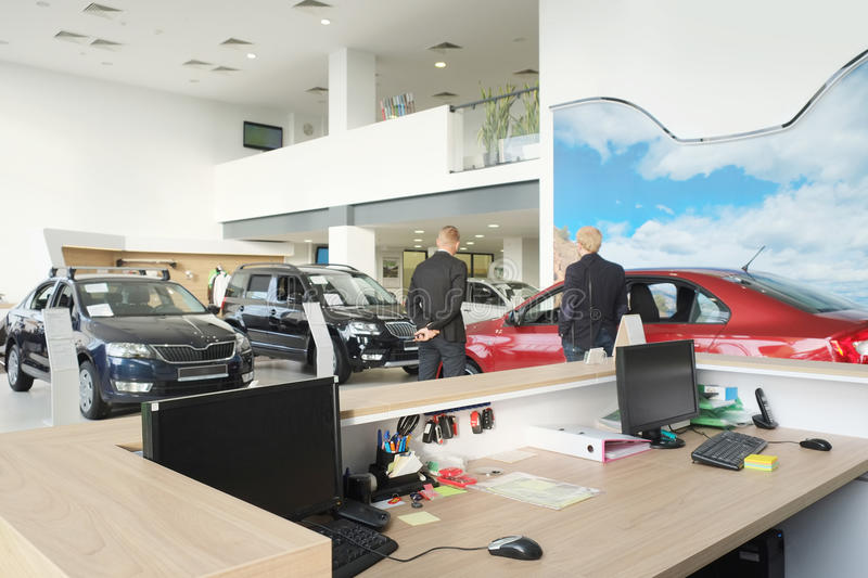 Modern office. Kaluga, Russia, August, 19, 2015: Working place of managers in a dealer's car showroom in Kaluga, Russia royalty free stock photos