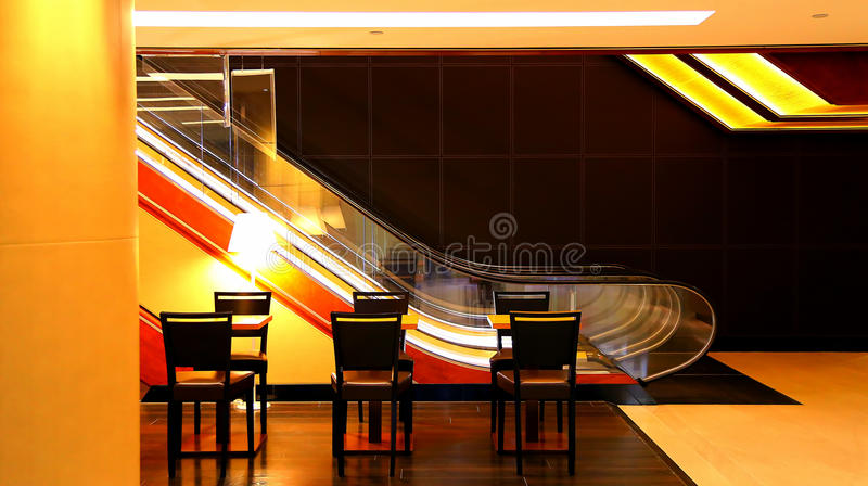 Modern office lobby. With escalator and furniture stock photo